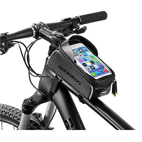 "Wuzhengzhijia Best Cycling Frame Bag,Bike Handlebar Frame ,Bicycle Touchscreen Saddle Bag with Sun Visor for Below 6"" Phone 830"