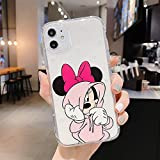 Compatible with iPhone 11 Case Cute Cartoon Mouse Soft Clear TPU Silicone Case, Funny Animal Drop Protective Ultra-Thin Shockproof Kawaii Girls Cases Design for iPhone 11 6.1inch (Pink)