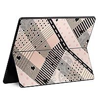 igsticker Surface Pro X 専用スキンシール サーフェス プロ エックス ノートブック ノートパソコン カバー ケース フィルム ステッカー アクセサリー 保護 008019 チェック・ボーダー ハート 黒 ブラック ピンク 模様