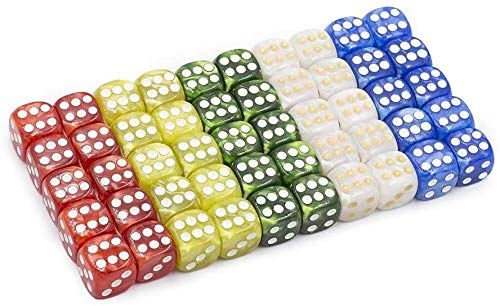 16MM Game Dice Set, Marble Color 6-Sided Solid Dice, Can Be Used for Board Games, Table Games, Math Games, Role-Playing, Party Games(50 Pack
