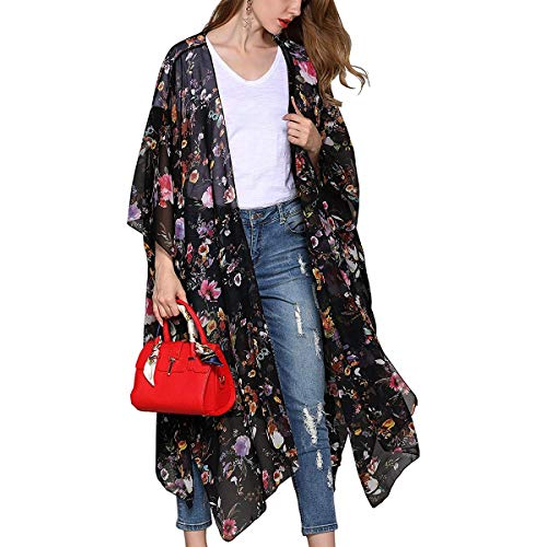 XingYue Direct Mujeres Estampado Floral Kimono Chiffon Cardigan Bikini Largo de Playa Cubre Sueltos Tops Mantón Tops Outwear Ropa de Playa (Color : Black, Size : L)