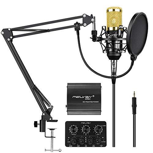 FELYBY Professionelles Kondensator Mikrofon, Nieren Aufzeichnung Mikrofon Kit Mit Einstellbarem Scherenausleger Arm, Live-Soundkarte, Perfekt für Youtube/Video Konferenz/Gaming/Zoom/Skype