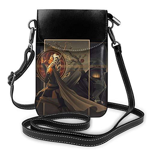 XCNGG Kleine Geldbörse A-hsoka T-ano Darth Vader Crossbody Bags for Women's Crossbody Handbags Cell Phone Purse Waterproof Leather Handbags Small Wallet
