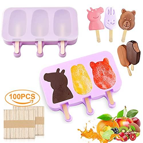 Stampi ghiaccioli in Silicone, 2 Set Stampi per Gelato con 100 Stecche per Ghiaccioli, Gelatiere per Alimenti Senza BPA, Ghiaccioli Stampo al Cioccolato congelato Fai da Te per Bambini Adulti