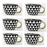 SLW 6 Uds Taza De Cerámica Creativa Taza De Café Vajilla De Cocina Personalizada Patrón Geométrico Taza De Té De Cerámica Decoración del Hogar Nórdico Mango Triangular Negro Dorado