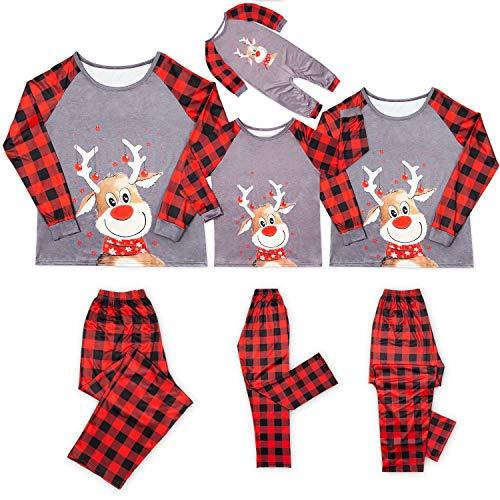 Christmas Pajamas for Family Plaid Reindeer Elk Family Christmas PJS Matching Sets Women Men Kids Baby Loungewear (Grey, Baby/18-24 Month)