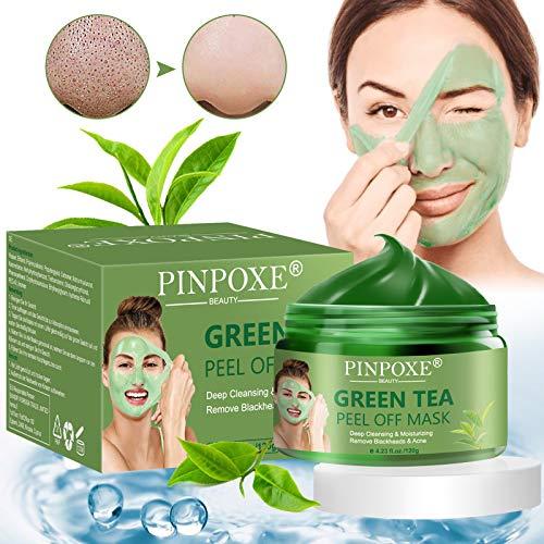 Masque Peel Off, Green Tea Mask, Masque Point Noir, Blackhead Remover Mask, Pore Cleanser Masque, Anti-Acné et Contrôle de L'huile Pour la Peau Apaisante et Hydratante