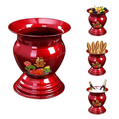 dkjawjcn Canasta de Frutas, Estante De Almacenamiento De Cocina,Tradicional China Antiguo Cesta De Vino De Pan Esmaltado, Recipiente de Arco para Mesa de Comedor y Cocina Antigua,Rojo