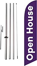 Open House Advertising Feather Banner Swooper Flag Sign with Flag Pole Kit and Ground Stake