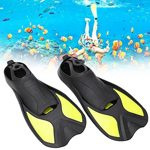 SHYEKYO Aletas de Buceo Cortas, Aletas de natación fáciles de controlar para Buceo con esnórquel o Entrenamiento de natación para Adultos(Black and Yellow, L)