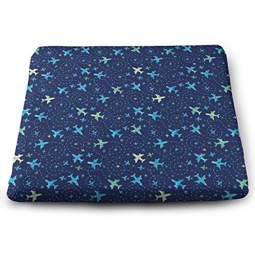 Memory Foam Pad zitkussen. Autostoel Kussens om hoogte te verhogen - bureaustoel Comfort Kussen - Nay Blue vliegtuig #