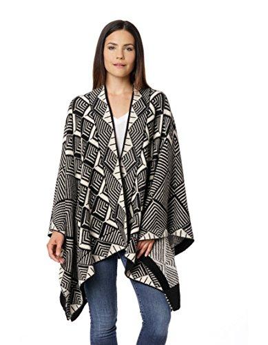 Onzichtbare wereld vrouwen handgebreide 100% Baby Alpaca Megan Multi kleuren Ruana sjaal Wrap