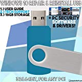 Bootable USB Compatible w/ Windows 10 Pro & Home Reinstall Recovery Repair Reboot Restore Clean Install Fix Reset w/ Antivirus Protection & Drivers Software | For ANY PC 32 or 64 Bit