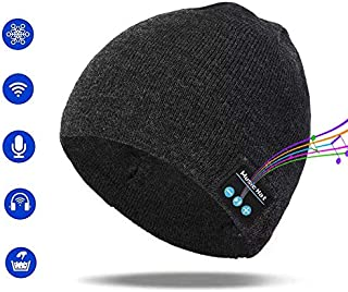 Pardecor Wireless Hat Bluetooth Beanie, Knit Music Cap with V5.0 Headphones Headset for Outdoor Running Skiing Camping Hiking, Unique Christmas Tech Gifts for Women Mom Her Men Teens Boys Girls Mens