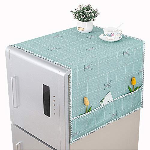 Cubierta de polvo multiusos para frigorífico, lavadora, cubierta superior para nevera, cubierta decorativa a prueba de polvo, con bolsillos laterales de almacenamiento, verde