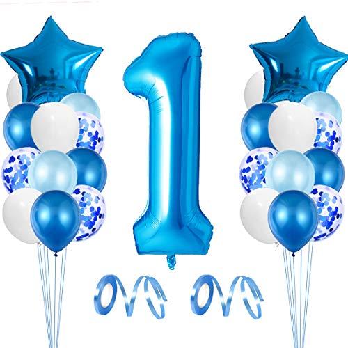Decorazioni Compleanno 1 Anno, Palloncino Numero 1, 1 Anno Compleanno Bambino Palloncino, Palloncino 1 Compleanno Boy, Palloncini in Lattice, per Compleanno Battesimo Festa Comunione Baby Shower
