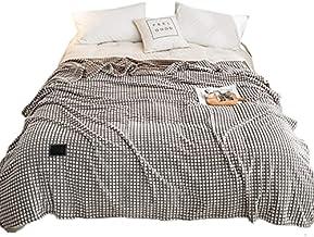 xllLU Effen kleur geruite fluwelen gooien deken zachte gezellige airconditioning flanel pluche warme koningin size bed ban...