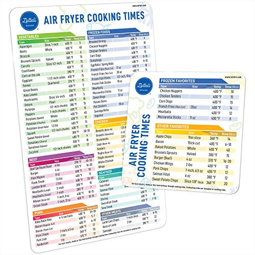 Air Fryer Magnetic Cheat Sheet Set, Air Fryer Accessories Cook Times, Airfryer Accessory Magnet Sheet Quick Reference Guide for Cooking and Frying (White)