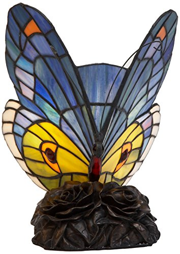 Viro Mariposa de sobremesa Tiffany, Azul y Amarillo, 17 x 17 x 26 cm