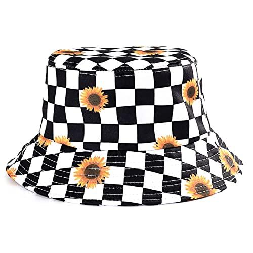 Sombrero de Verano, Sombrero deCubo de Pato Reversible para Hombres, Mujeres, Moda de algodón, niños tristes, Sombrero de Sol Plegable para niñas, Sombrero de Pescador de Playa-One Side-1