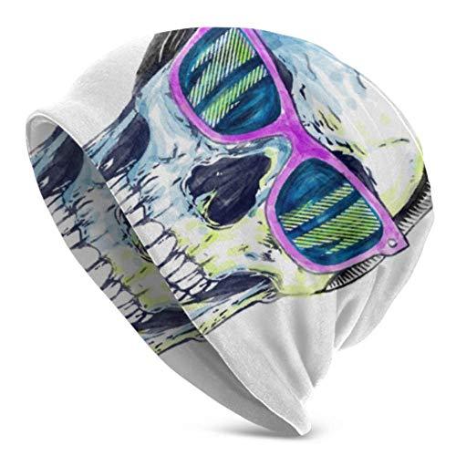 Gorro de Calavera, Crâne humain Avec Des lunettes de Soleil, Fashion Beanie Hat Gorro de Punto cálido Unisex