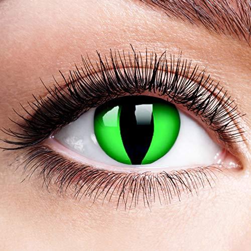 Farbige Kontaktlinsen ohne Stärke Anaconda Eyes Schwarz Grün Linsen Halloween Karneval Fasching Cosplay Anime Grüne Drache Augen Cat Eye Katzen Reptil Schlange Katzenauge Dragon