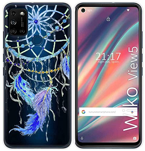 Cover Gel Transparent for Wiko View5/View5 Plus Design Feathers Drawings