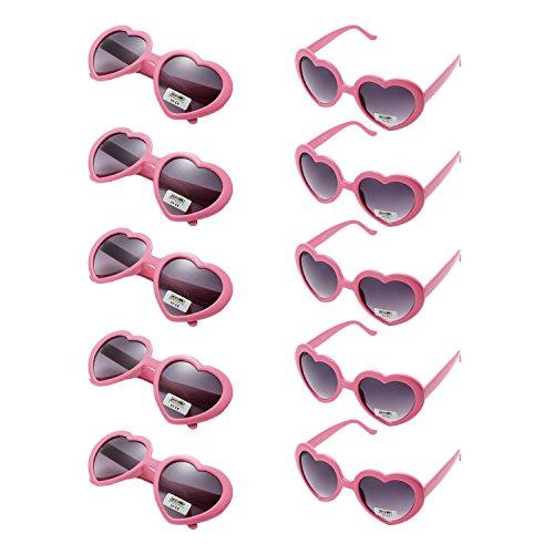 Onnea 10 Pezzi Set Forma di Cuore Occhiali da Sole Festa per Uomo Donna (10 Pacchi Rosa)