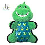 YoTelim Durable Chew Toy for Dog - Squeaky Plush Toys for Aggressive Chewers Medium Small Dogs Puppy Teething Interactive Play Toy, Faux Fur and BPA-Free TPR Material Dinosaur Shape