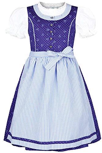 Isar-Trachten Mädchen Kinderdirndl mit Bluse blau hellblau, BLAU (Marine), 104