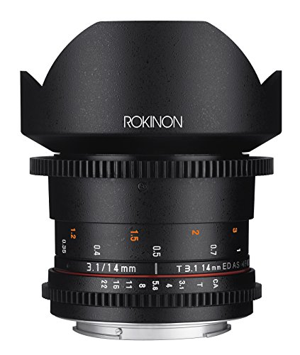 Rokinon Cine DS DS14M-C 14mm T3.1 ED AS IF UMC Full Frame Cine Wide Angle Lens for Canon EF
