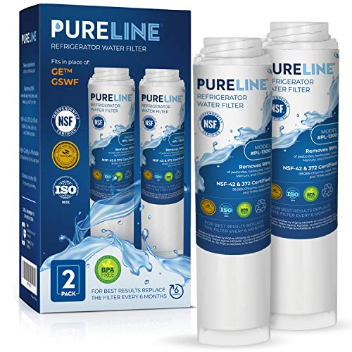 GE GSWF Certified Refrigerator Water Filter Replacement by PURELINE (2 Pack)