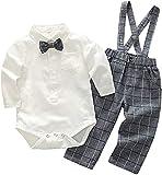 Crystallly Baby Jungen Bekleidung Set Festliche Hemd Baumwolle Kleidung Hose Hosentrager Einfacher Stil Taufanzug Gentleman Anzug Fliege Kinderbekleidung (Color : Beige+Grau, One Size : 95cm)