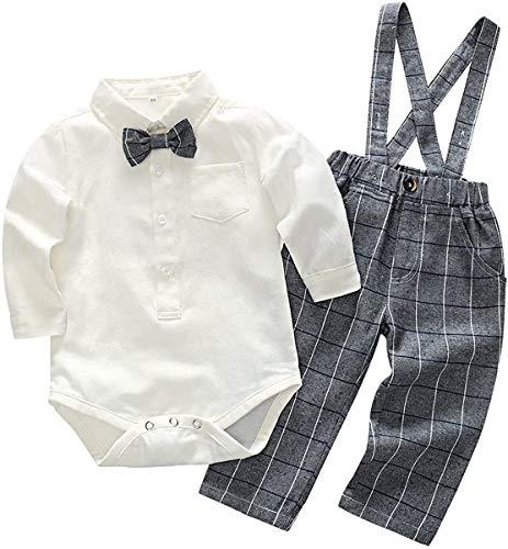 Crystallly Baby Jungen Bekleidung Set Festliche Hemd Baumwolle Kleidung Hose Hosentrager Einfacher Stil Taufanzug Gentleman Anzug Fliege Kinderbekleidung (Color : Beige+Grau, One Size : 90)
