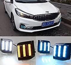 Auto-Tech Daytime Running Light,fog lamp Retrofit Car LED DRL Daytime light kit For 2016-2017 Kia K3 Cerato (yellow blue light)