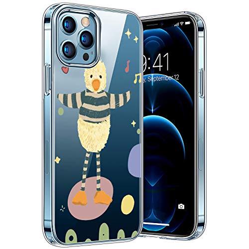 Transparent Hülle Kompatibel mit iPhone 12/12pro, Vergilbungsfrei Stoßfest Anti-Scratch TPU Handyhülle, Cover Bunte-Cartoons-Tiere-Muster-Design-Hülle-Ente