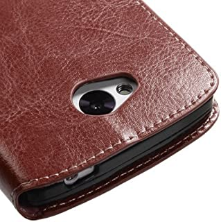 Kyocera Hydro Wave Case, Magnetic Leather Flip Wallet Pouch For Kyocera Hydro Wave C6740, Slim Folio Case with Kickstand, 2 Credit Card Slot Wallet Pouch (Brown Slim Wallet Case)