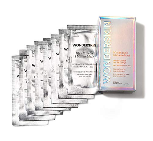 Wonderskin It's a Miracle 8 Minute Mask, Quick Treatment for Face, Neck and Hands, Packed with Vitamin C and Niacinamide for a Soft, Tighter, Even Toned Skin, 0.8oz