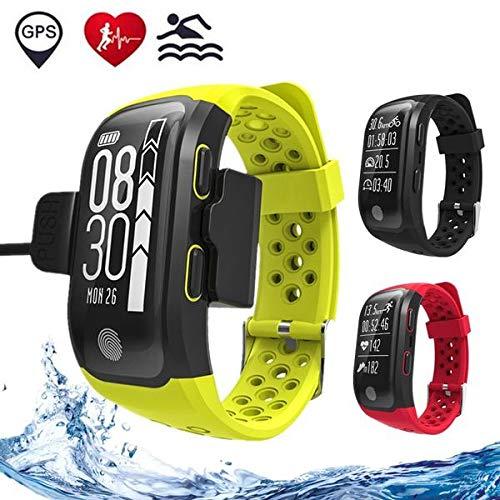Ytycjsfh S908GPS Smartband frequenza cardiaca/sonno monitor sedentario promemoria pedometro IP68impermeabile (colore: Nero)
