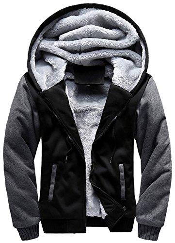 moxishop Hommes Adolescent Zip up Épais Rembourré Doublé Polaire Hoodies Sweatshirt Veste Pardessus (frw02-Noir, Meduim)