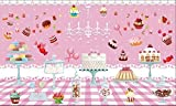 Papel tapiz Lindo pastel rosa imagen de postre restaurante restaurante de comida rápida carrito de helados tienda de postres cafetería cartel mural-400cmx280cm(LxA)