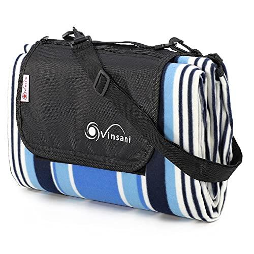 Vinsani Picknickdecke, faltbar, 170 x 130 cm, wasserdichte und sanddichte Unterseite, ideal für Camping und Picknick, blau gestreift, mit Tragegriff