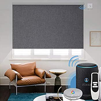 Graywind Motorized Shades 100% Blackout Compatible with Alexa Google WiFi Smart Hardwired Window Shade Remote Control Thermal Insulated Electric Blinds Customized Size  Dark Gray