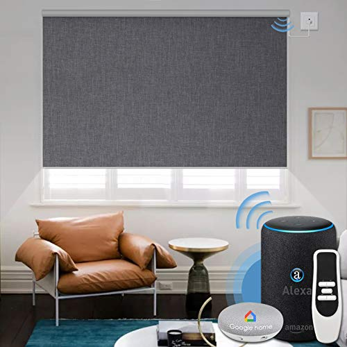 Graywind Motorized 100% Blackout Roller Shade with Alexa Google Smart Home Control Build-in...
