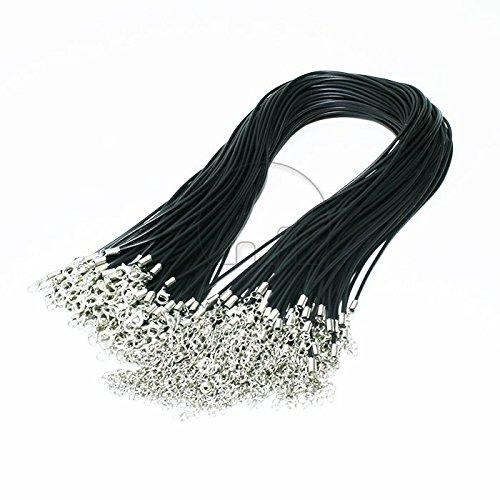 GoldenTrading 100 piezas negro hombre hecho Coed de collar de cuero con langosta cierre de cuerda redonda de 2mm