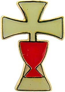 Gold Tone Enameled Holy First Communion Chalice Cross Lapel Pin, 5/8 Inch