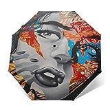 SUHETI Paraguas automático de Apertura/Cierre,Sexy,Elegante,Mujer Hermosa,con,Graffiti,en,Ella,Cara,Paraguas pequeño Plegable a Prueba de Viento