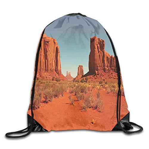 Drawstring Gym Bag Backpack,Sunny Hot Day Monument Valley Arid Country Primitive Nation Arizona Usa,Rucksack for School Sports Travel Women Children Birthday Present