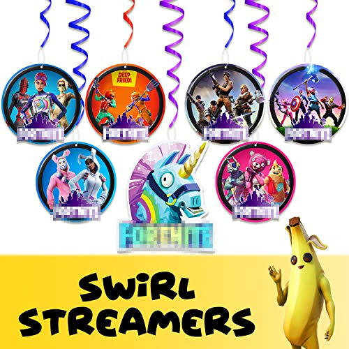 Video Game Happy Birthday Hanging Swirl Streamers Games Theme Party Decorations Red Purple Blue Foil Picks for Kids Boys Adults Teens Girls Gamers Birthday Decor Supplies 14pcs