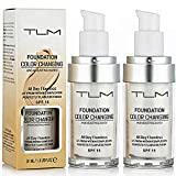 TLM Flawless Colour Changing Foundation Makeup, Base Nude Face Concealer Cover Cream, Foundation liquid, BB Cream, Invisible Pores, Moisturizing Liquid Cover Concealer, Universal for ALL Skin Type